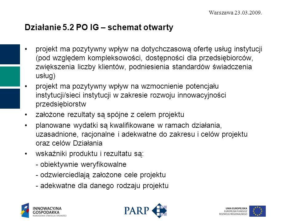 Warszawa 23.03.2009. Działanie 5.2 PO IG – schemat otwarty projekt ma pozytywny wpływ na dotychczasową ofertę usług instytucji (pod względem komplekso
