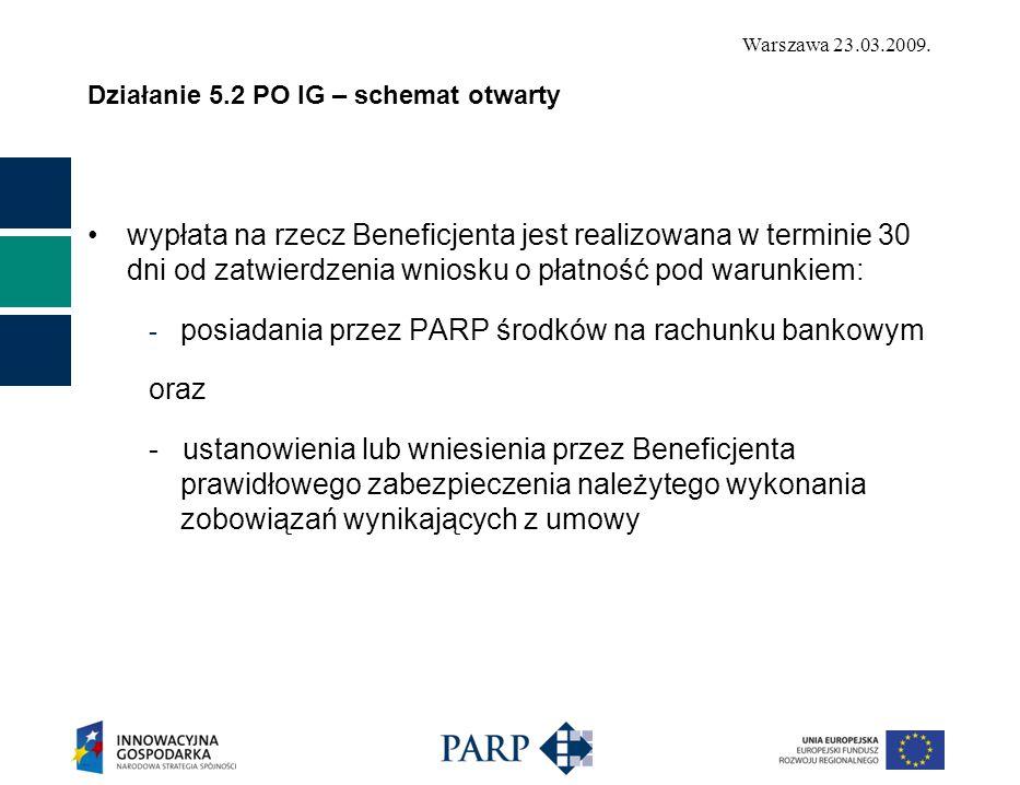 Warszawa 23.03.2009. Działanie 5.2 PO IG – schemat otwarty wypłata na rzecz Beneficjenta jest realizowana w terminie 30 dni od zatwierdzenia wniosku o