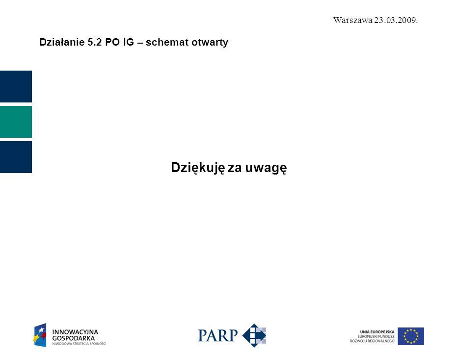 Warszawa 23.03.2009. Działanie 5.2 PO IG – schemat otwarty Dziękuję za uwagę