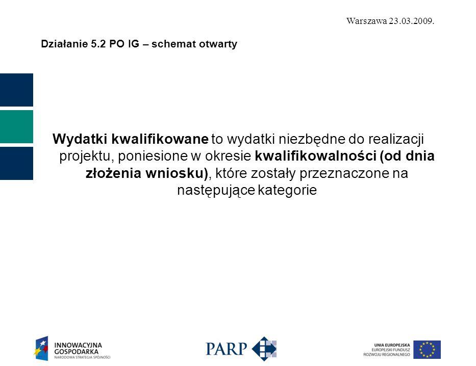 Warszawa 23.03.2009. Działanie 5.2 PO IG – schemat otwarty Wydatki kwalifikowane to wydatki niezbędne do realizacji projektu, poniesione w okresie kwa