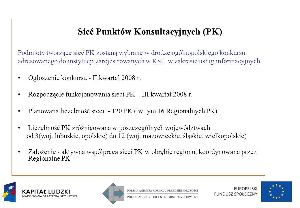 4 Sieć Punktów Konsultacyjnych (PK) Podmioty tworzące sieć PK zostaną wybrane w drodze ogólnopolskiego konkursu adresowanego do instytucji zarejestrowanych w KSU w zakresie usług informacyjnych Ogłoszenie konkursu - II kwartał 2008 r.