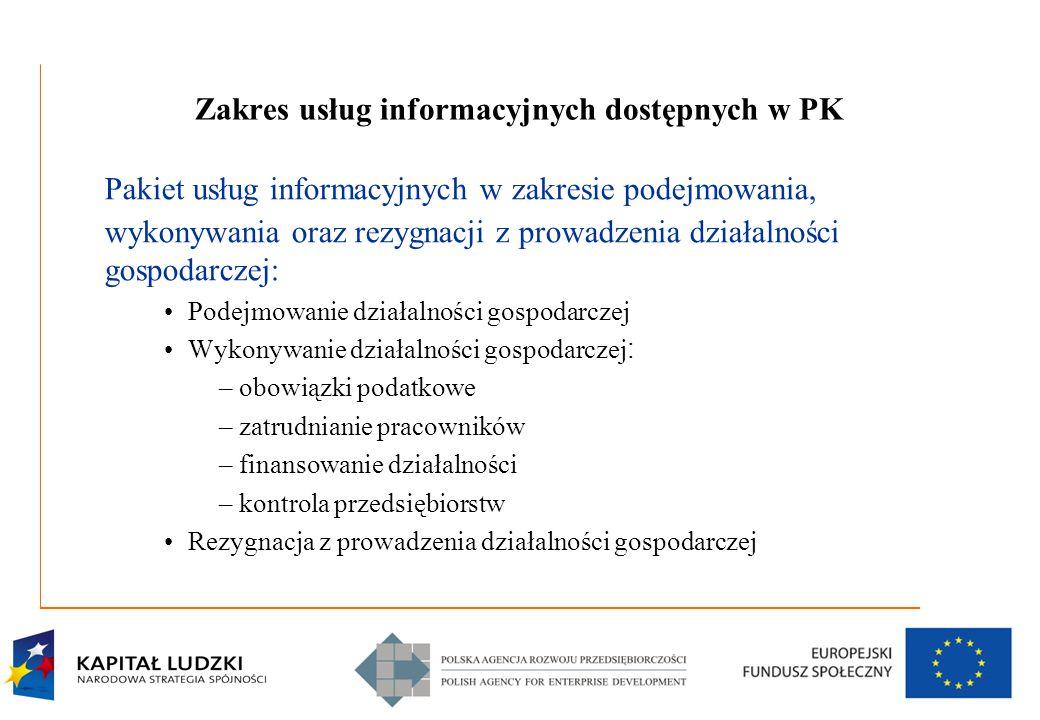 5 Zakres usług informacyjnych dostępnych w PK Pakiet usług informacyjnych w zakresie podejmowania, wykonywania oraz rezygnacji z prowadzenia działalno