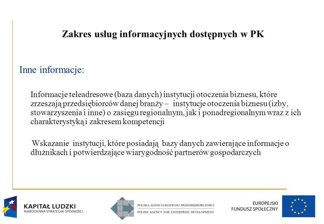 9 Zakres usług informacyjnych dostępnych w PK Inne informacje: Informacje teleadresowe (baza danych) instytucji otoczenia biznesu, które zrzeszają prz
