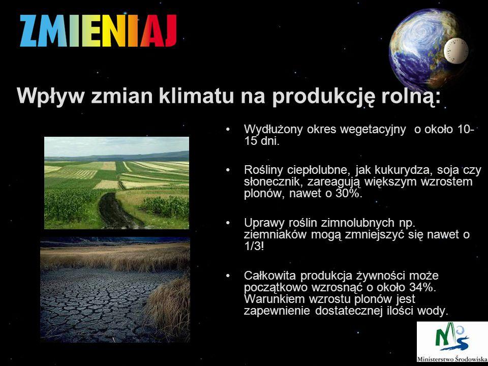 Wpływ zmian klimatu na produkcję rolną: Wydłużony okres wegetacyjny o około 10- 15 dni.
