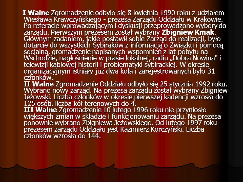 I Walne Zgromadzenie odbyło się 8 kwietnia 1990 roku z udziałem Wiesława Krawczyńskiego - prezesa Zarządu Oddziału w Krakowie. Po referacie wprowadzaj