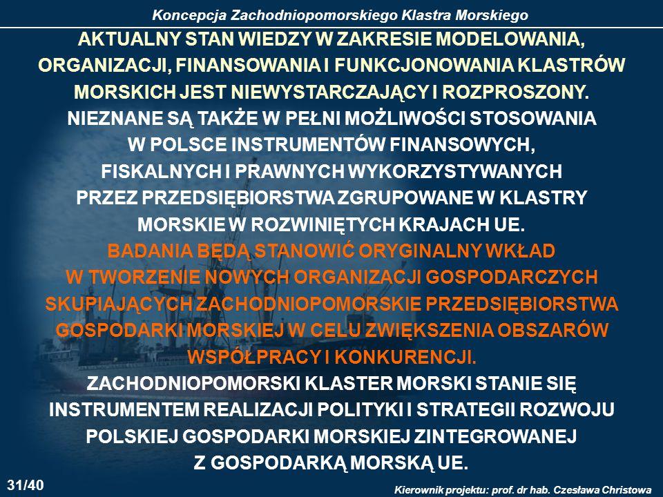 Koncepcja Zachodniopomorskiego Klastra Morskiego Kierownik projektu: prof. dr hab. Czesława Christowa AKTUALNY STAN WIEDZY W ZAKRESIE MODELOWANIA, ORG