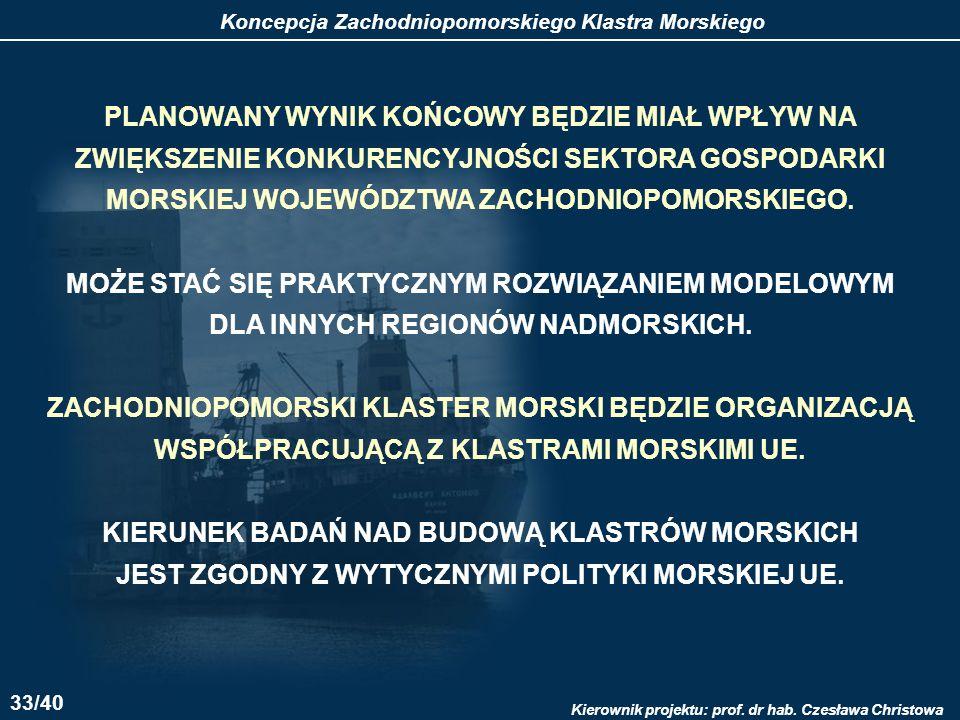 Koncepcja Zachodniopomorskiego Klastra Morskiego Kierownik projektu: prof.