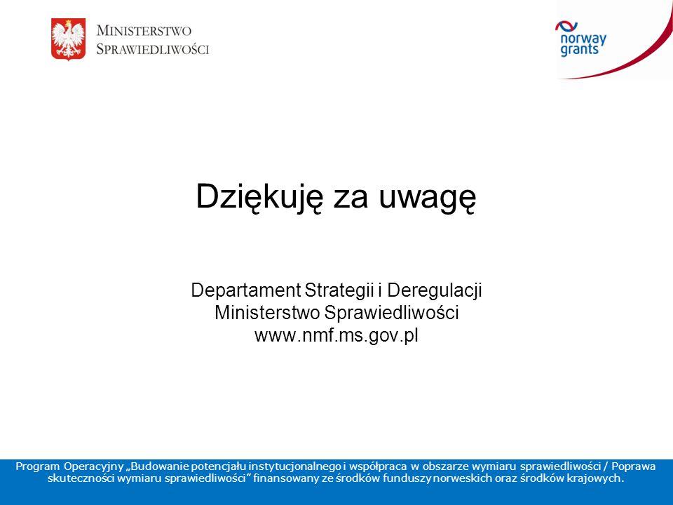 """Program Operacyjny """"Budowanie potencjału instytucjonalnego i współpraca w obszarze wymiaru sprawiedliwości / Poprawa skuteczności wymiaru sprawiedliwości finansowany ze środków funduszy norweskich oraz środków krajowych."""