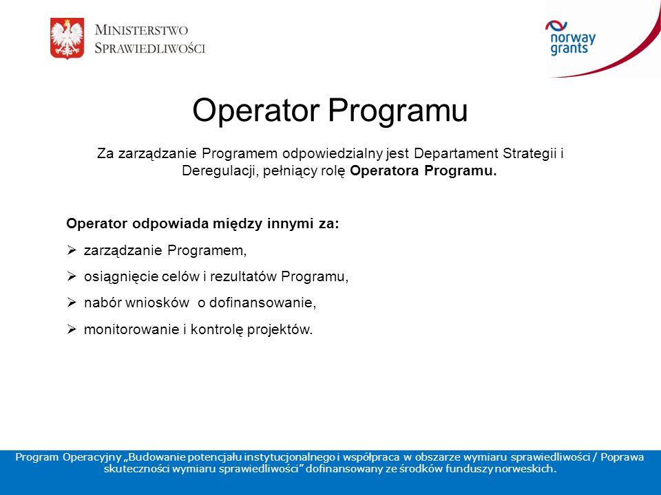 Operator Programu Za zarządzanie Programem odpowiedzialny jest Departament Strategii i Deregulacji, pełniący rolę Operatora Programu.