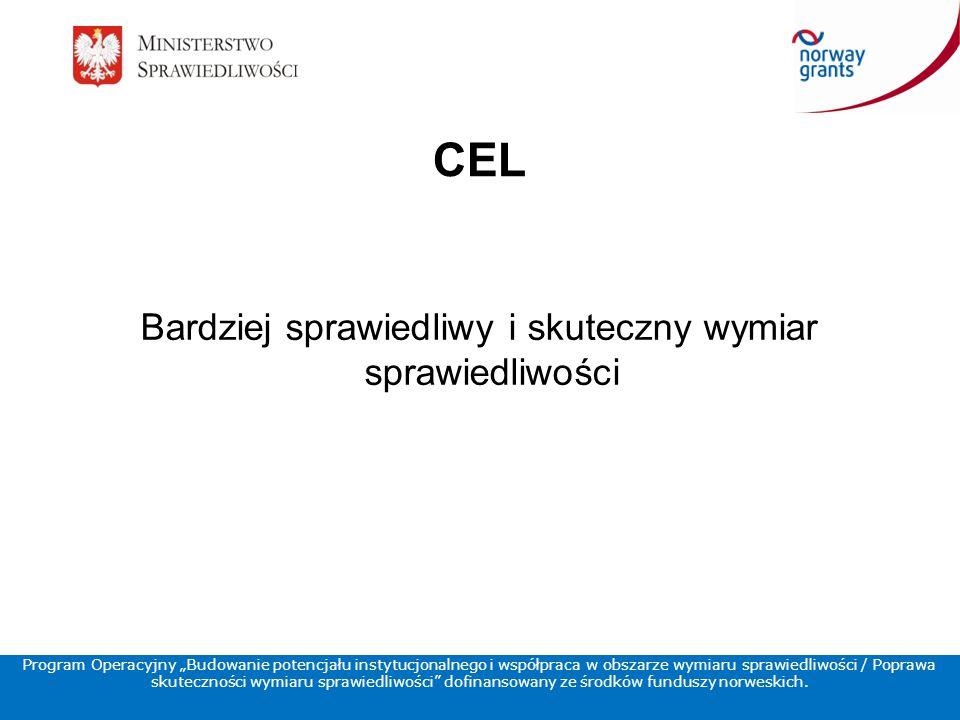 """CEL Bardziej sprawiedliwy i skuteczny wymiar sprawiedliwości Program Operacyjny """"Budowanie potencjału instytucjonalnego i współpraca w obszarze wymiaru sprawiedliwości / Poprawa skuteczności wymiaru sprawiedliwości dofinansowany ze środków funduszy norweskich."""