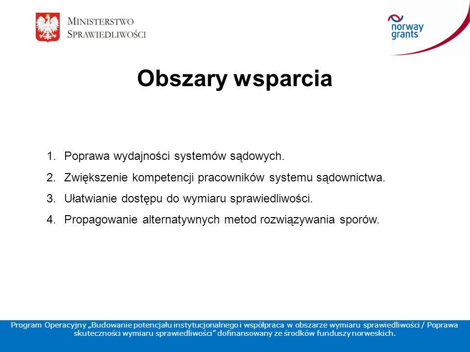 Obszary wsparcia 1.Poprawa wydajności systemów sądowych.