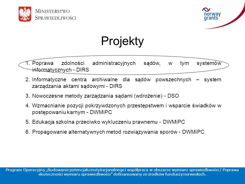 """Projekty 1.Poprawa zdolności administracyjnych sądów, w tym systemów informatycznych - DIRS 2.Informatyczne centra archiwalne dla sądów powszechnych – system zarządzania aktami sądowymi - DIRS 3.Nowoczesne metody zarządzania sądami (wdrożenie) - DSO 4.Wzmacnianie pozycji pokrzywdzonych przestępstwem i wsparcie świadków w postępowaniu karnym - DWMiPC 5.Edukacja szkolna przeciwko wykluczeniu prawnemu - DWMiPC 6.Propagowanie alternatywnych metod rozwiązywania sporów - DWMiPC Program Operacyjny """"Budowanie potencjału instytucjonalnego i współpraca w obszarze wymiaru sprawiedliwości / Poprawa skuteczności wymiaru sprawiedliwości dofinansowany ze środków funduszy norweskich."""