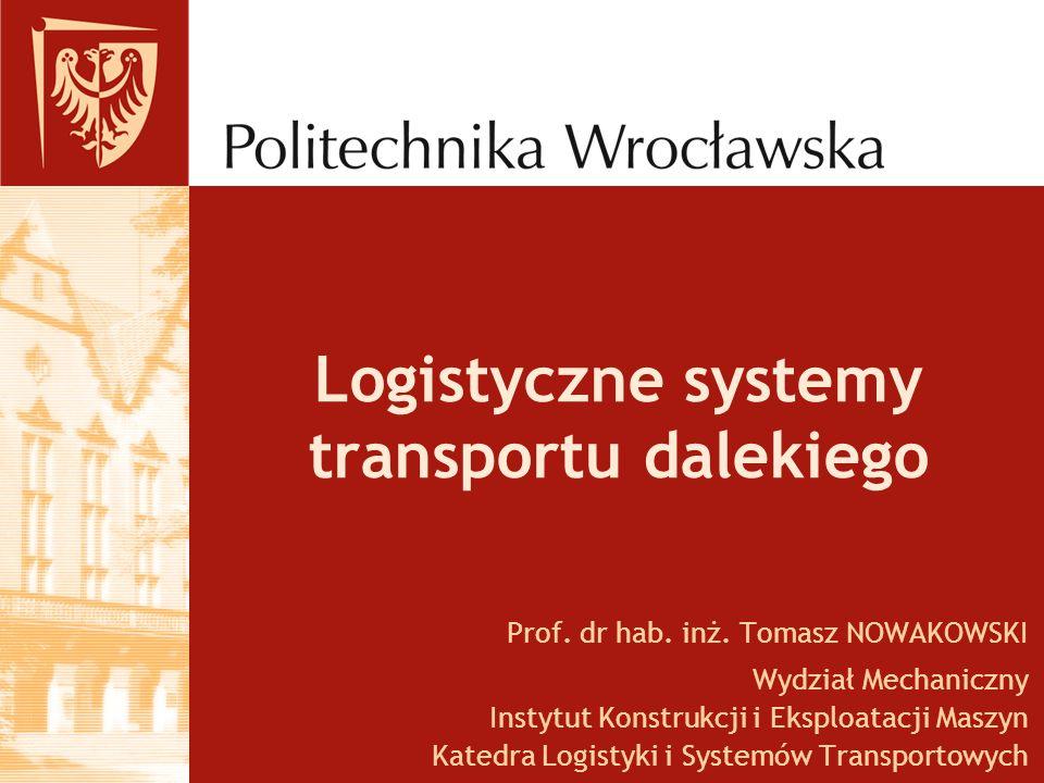 Logistyczne systemy transportu dalekiego Prof. dr hab. inż. Tomasz NOWAKOWSKI Wydział Mechaniczny Instytut Konstrukcji i Eksploatacji Maszyn Katedra L