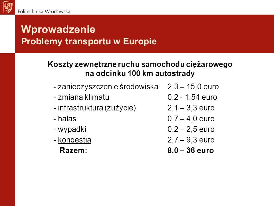 - zanieczyszczenie środowiska2,3 – 15,0 euro - zmiana klimatu0,2 - 1,54 euro - infrastruktura (zużycie)2,1 – 3,3 euro - hałas0,7 – 4,0 euro - wypadki0