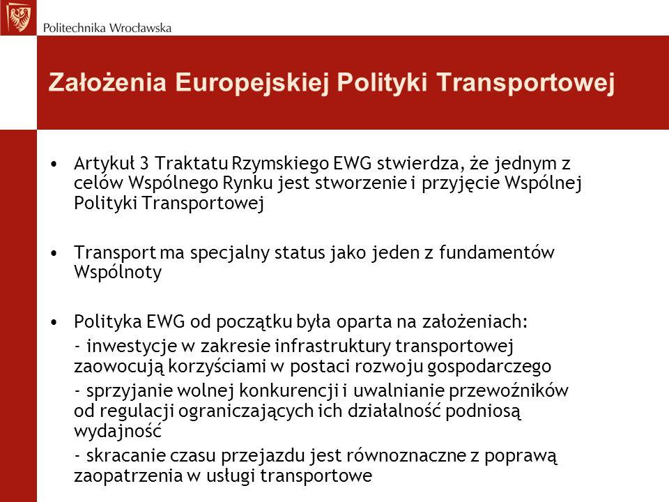 Założenia Europejskiej Polityki Transportowej Artykuł 3 Traktatu Rzymskiego EWG stwierdza, że jednym z celów Wspólnego Rynku jest stworzenie i przyjęc