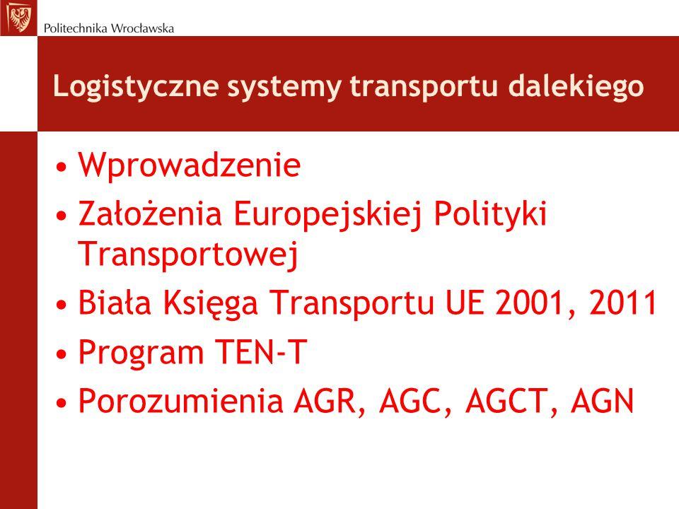 Logistyczne systemy transportu dalekiego Wprowadzenie Założenia Europejskiej Polityki Transportowej Biała Księga Transportu UE 2001, 2011 Program TEN-