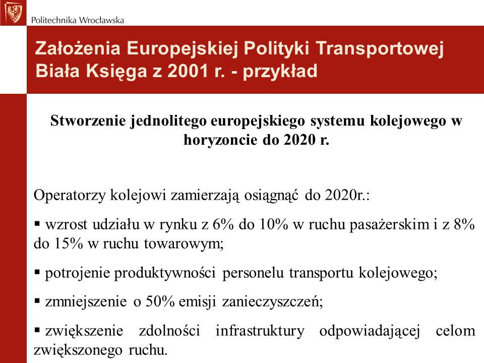 Stworzenie jednolitego europejskiego systemu kolejowego w horyzoncie do 2020 r. Operatorzy kolejowi zamierzają osiągnąć do 2020r.:  wzrost udziału w