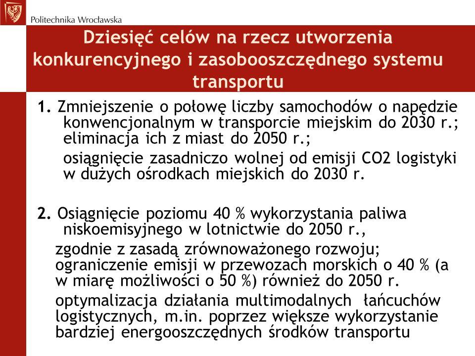 Dziesięć celów na rzecz utworzenia konkurencyjnego i zasobooszczędnego systemu transportu 1. Zmniejszenie o połowę liczby samochodów o napędzie konwen
