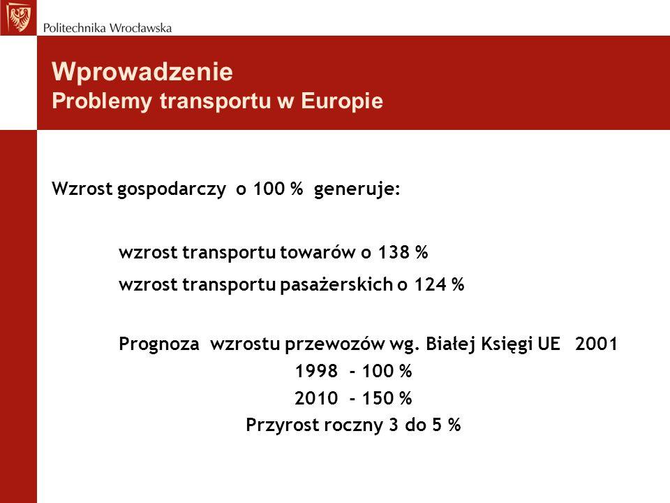 Wprowadzenie Problemy transportu w Europie Wzrost gospodarczy o 100 % generuje: wzrost transportu towarów o 138 % wzrost transportu pasażerskich o 124