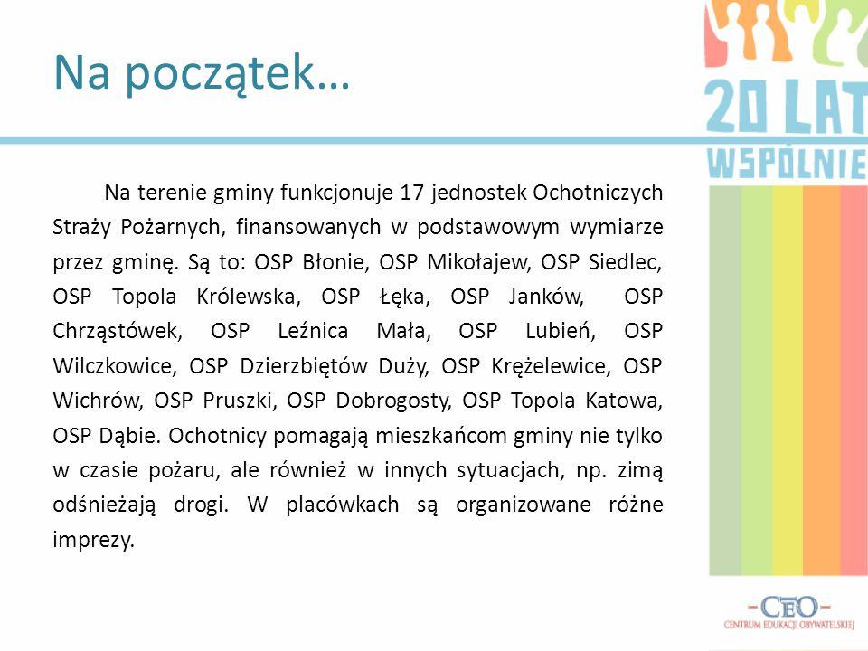 Na terenie gminy funkcjonuje 17 jednostek Ochotniczych Straży Pożarnych, finansowanych w podstawowym wymiarze przez gminę. Są to: OSP Błonie, OSP Miko