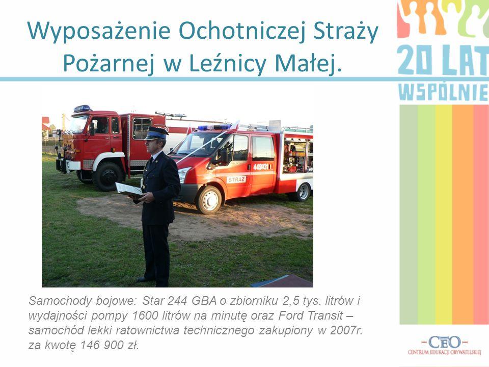 Wyposażenie Ochotniczej Straży Pożarnej w Leźnicy Małej. Samochody bojowe: Star 244 GBA o zbiorniku 2,5 tys. litrów i wydajności pompy 1600 litrów na