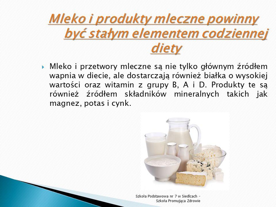  Mleko i przetwory mleczne są nie tylko głównym źródłem wapnia w diecie, ale dostarczają również białka o wysokiej wartości oraz witamin z grupy B, A