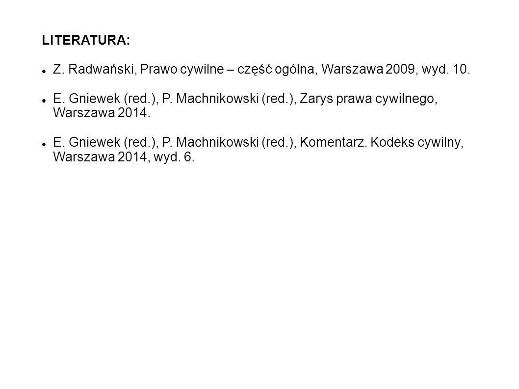 LITERATURA: Z.Radwański, Prawo cywilne – część ogólna, Warszawa 2009, wyd.