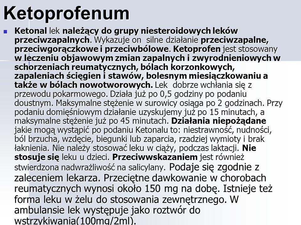 Ketoprofenum Ketonal lek należący do grupy niesteroidowych leków przeciwzapalnych.