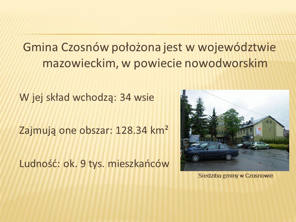 Gmina Czosnów położona jest w województwie mazowieckim, w powiecie nowodworskim W jej skład wchodzą: 34 wsie Zajmują one obszar: 128.34 km² Ludność: o