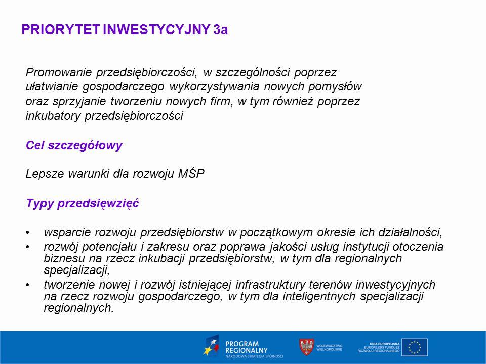 PRIORYTET INWESTYCYJNY 3a Promowanie przedsiębiorczości, w szczególności poprzez ułatwianie gospodarczego wykorzystywania nowych pomysłów oraz sprzyja