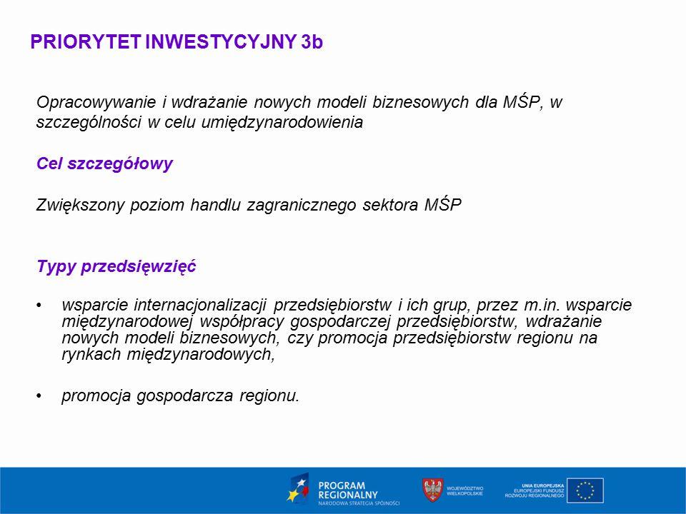 PRIORYTET INWESTYCYJNY 3b Opracowywanie i wdrażanie nowych modeli biznesowych dla MŚP, w szczególności w celu umiędzynarodowienia Cel szczegółowy Zwiększony poziom handlu zagranicznego sektora MŚP Typy przedsięwzięć wsparcie internacjonalizacji przedsiębiorstw i ich grup, przez m.in.