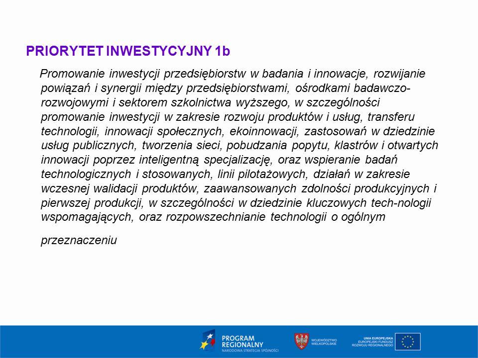 PRIORYTET INWESTYCYJNY 1b Promowanie inwestycji przedsiębiorstw w badania i innowacje, rozwijanie powiązań i synergii między przedsiębiorstwami, ośrodkami badawczo- rozwojowymi i sektorem szkolnictwa wyższego, w szczególności promowanie inwestycji w zakresie rozwoju produktów i usług, transferu technologii, innowacji społecznych, ekoinnowacji, zastosowań w dziedzinie usług publicznych, tworzenia sieci, pobudzania popytu, klastrów i otwartych innowacji poprzez inteligentną specjalizację, oraz wspieranie badań technologicznych i stosowanych, linii pilotażowych, działań w zakresie wczesnej walidacji produktów, zaawansowanych zdolności produkcyjnych i pierwszej produkcji, w szczególności w dziedzinie kluczowych tech-nologii wspomagających, oraz rozpowszechnianie technologii o ogólnym przeznaczeniu