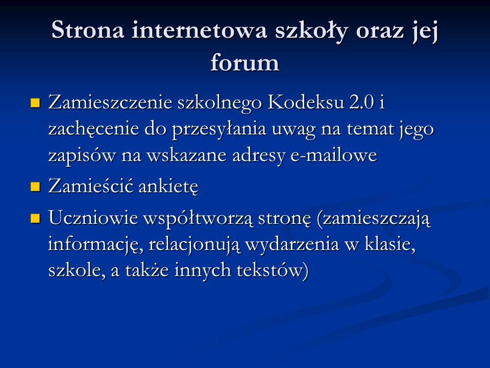 Strona internetowa szkoły oraz jej forum Zamieszczenie szkolnego Kodeksu 2.0 i zachęcenie do przesyłania uwag na temat jego zapisów na wskazane adresy