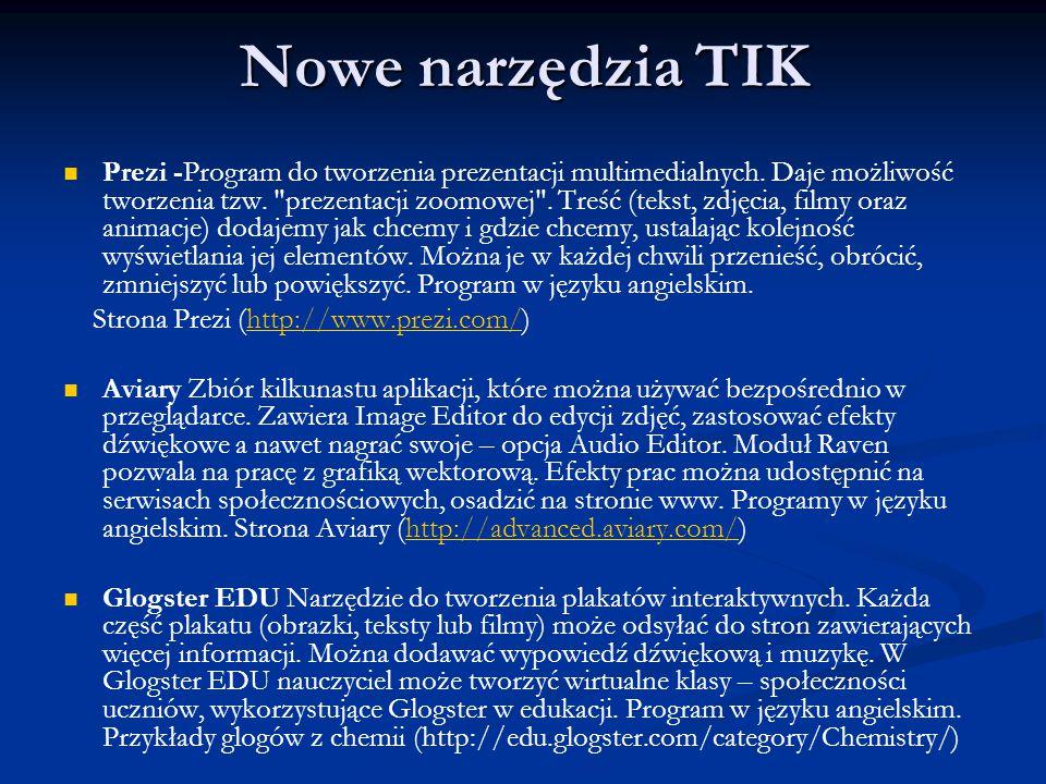 Nowe narzędzia TIK Prezi -Program do tworzenia prezentacji multimedialnych. Daje możliwość tworzenia tzw.