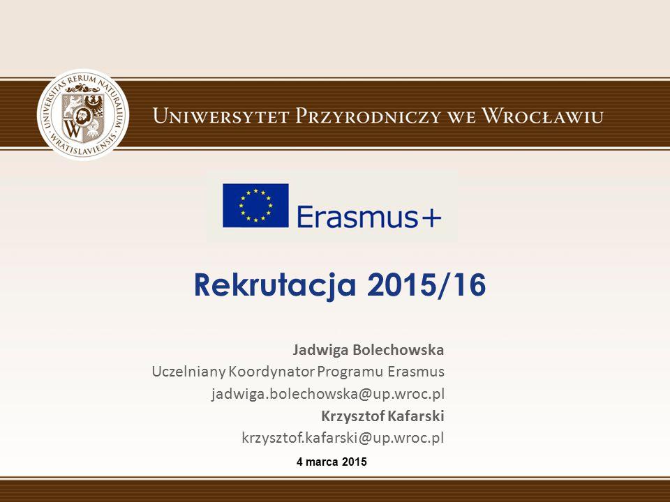 Rekrutacja 20 15 /1 6 4 marca 2015 Jadwiga Bolechowska Uczelniany Koordynator Programu Erasmus jadwiga.bolechowska@up.wroc.pl Krzysztof Kafarski krzys