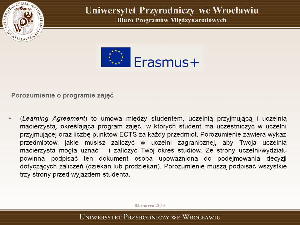 (Learning Agreement) to umowa między studentem, uczelnią przyjmującą i uczelnią macierzystą, określająca program zajęć, w których student ma uczestnic