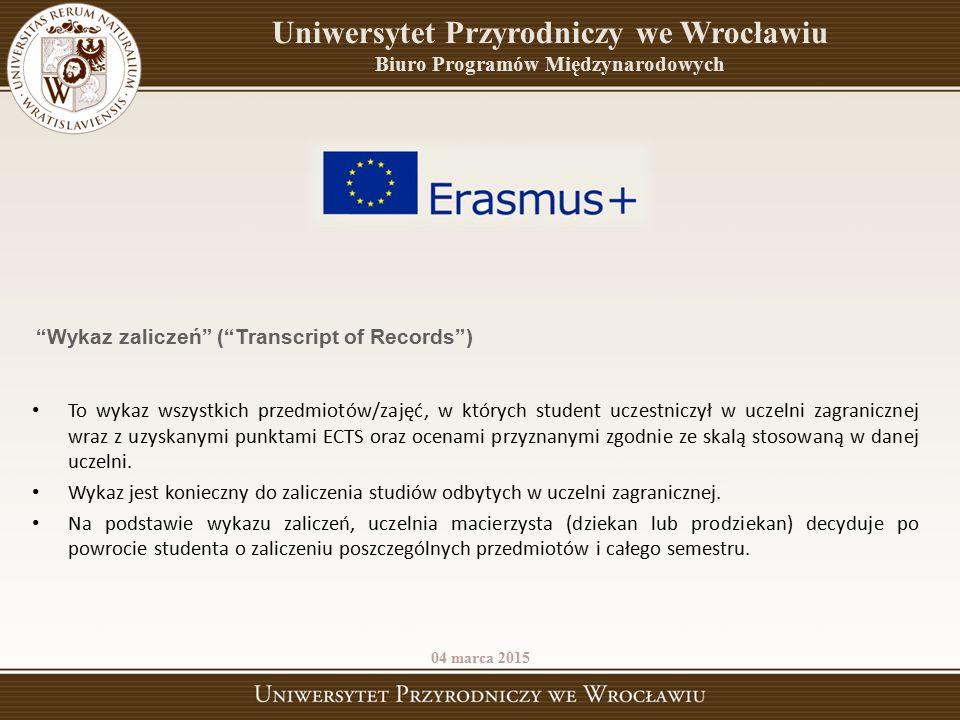 To wykaz wszystkich przedmiotów/zajęć, w których student uczestniczył w uczelni zagranicznej wraz z uzyskanymi punktami ECTS oraz ocenami przyznanymi