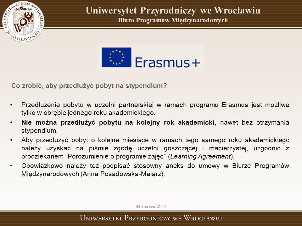 Przedłużenie pobytu w uczelni partnerskiej w ramach programu Erasmus jest możliwe tylko w obrębie jednego roku akademickiego. Nie można przedłużyć pob