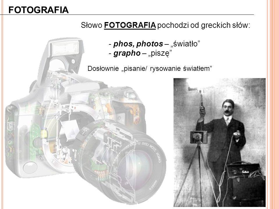 """FOTOGRAFIA Słowo FOTOGRAFIA pochodzi od greckich słów: - phos, photos – """"światło"""" - grapho – """"piszę"""" Dosłownie """"pisanie/ rysowanie światłem"""""""