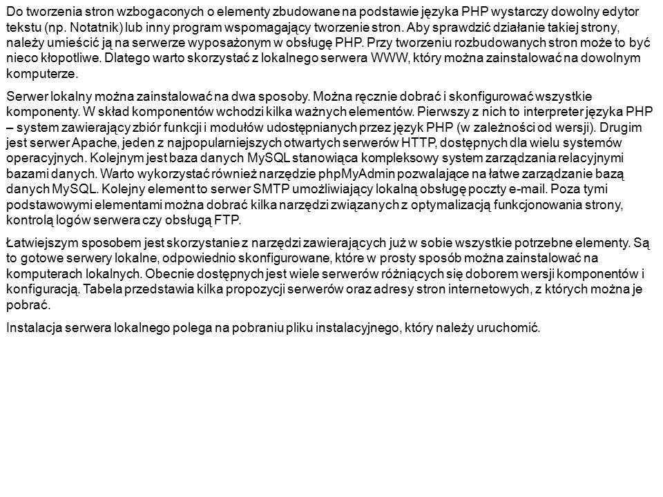 NazwaAdres WampSerwerhttp://sourceforge.net/projects/wampserver/ Appservhttp://www.appservnetwork.com/ EasyPHPhttp://www.easyphp.org/ FoxServhttp://sourceforge.net/projects/foxserv/ Krasnal Servhttp://www.krasnal.tk/ XAMPPhttp://www.apachefriends.org/en/xampp.html