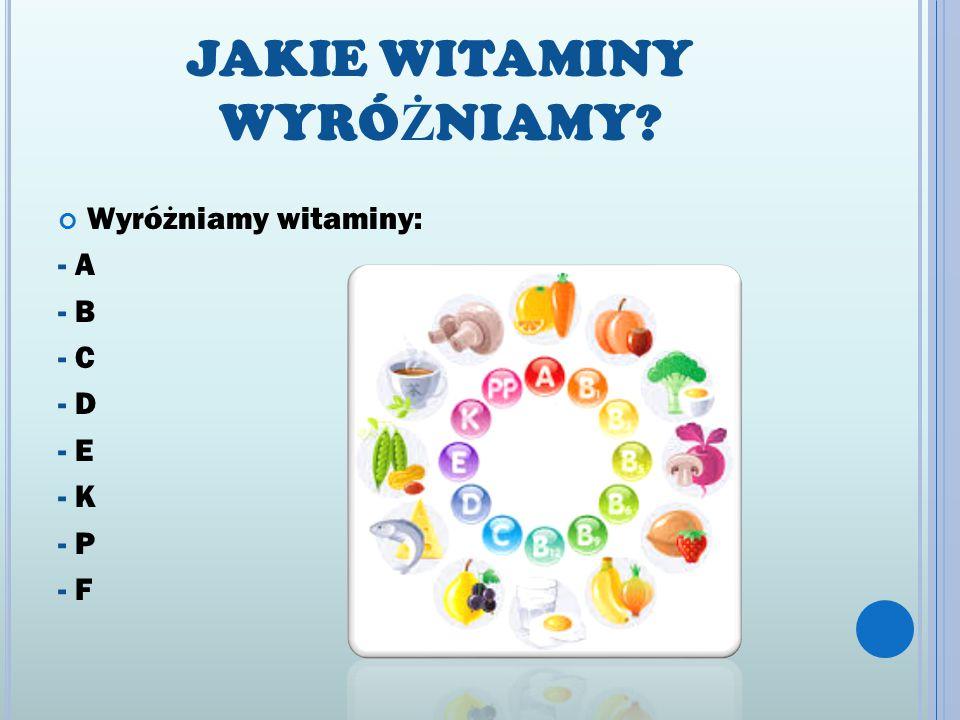 JAKIE WITAMINY WYRÓ Ż NIAMY? Wyróżniamy witaminy: - A - B - C - D - E - K - P - F