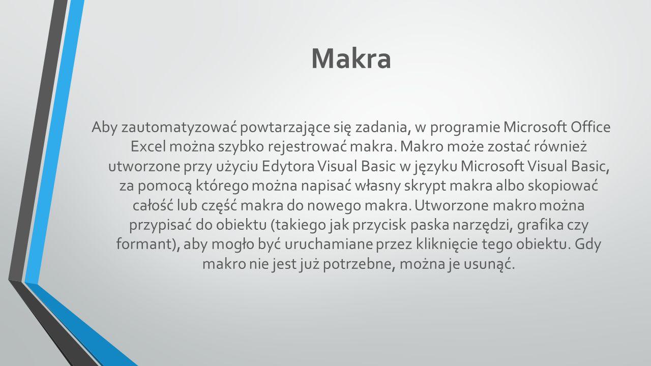 Makra Aby zautomatyzować powtarzające się zadania, w programie Microsoft Office Excel można szybko rejestrować makra.