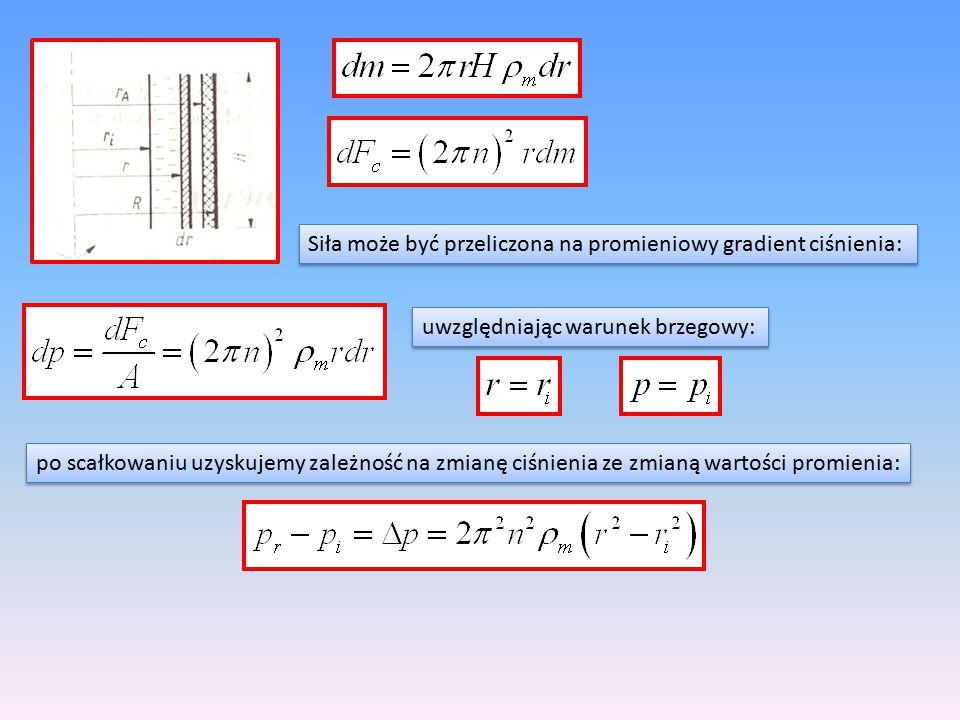 Siła może być przeliczona na promieniowy gradient ciśnienia: uwzględniając warunek brzegowy: po scałkowaniu uzyskujemy zależność na zmianę ciśnienia z