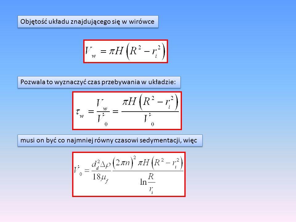 Objętość układu znajdującego się w wirówce Pozwala to wyznaczyć czas przebywania w układzie: musi on być co najmniej równy czasowi sedymentacji, więc