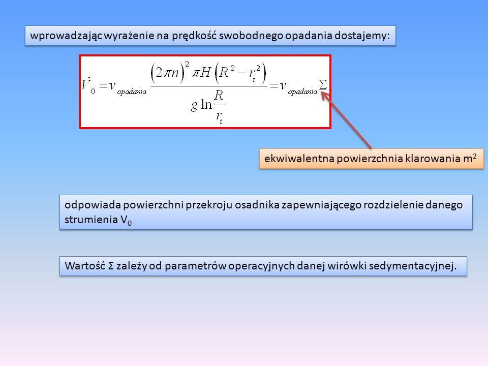 wprowadzając wyrażenie na prędkość swobodnego opadania dostajemy: ekwiwalentna powierzchnia klarowania m 2 odpowiada powierzchni przekroju osadnika za