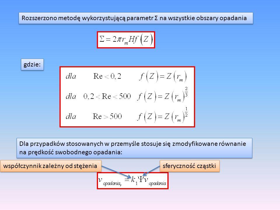Rozszerzono metodę wykorzystującą parametr Σ na wszystkie obszary opadania gdzie: Dla przypadków stosowanych w przemyśle stosuje się zmodyfikowane rów