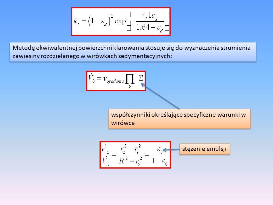 Metodę ekwiwalentnej powierzchni klarowania stosuje się do wyznaczenia strumienia zawiesiny rozdzielanego w wirówkach sedymentacyjnych: Metodę ekwiwal