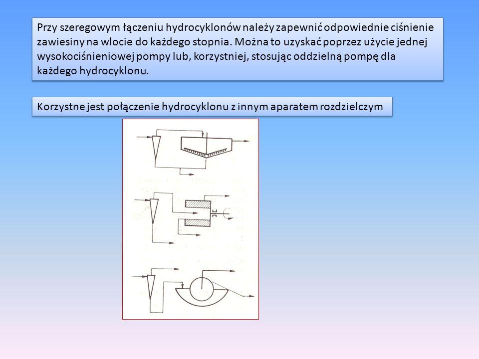 Przy szeregowym łączeniu hydrocyklonów należy zapewnić odpowiednie ciśnienie zawiesiny na wlocie do każdego stopnia. Można to uzyskać poprzez użycie j