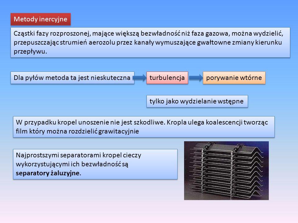 Metody inercyjne Cząstki fazy rozproszonej, mające większą bezwładność niż faza gazowa, można wydzielić, przepuszczając strumień aerozolu przez kanały
