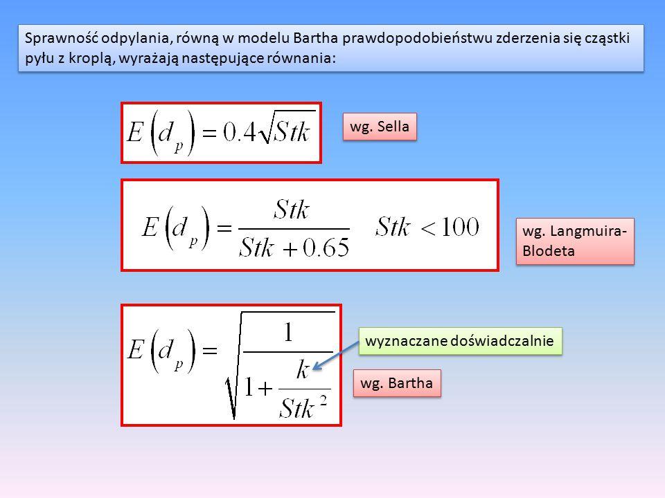 Sprawność odpylania, równą w modelu Bartha prawdopodobieństwu zderzenia się cząstki pyłu z kroplą, wyrażają następujące równania: Sprawność odpylania,